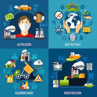 Conjunto de ilustração de problemas ambientais