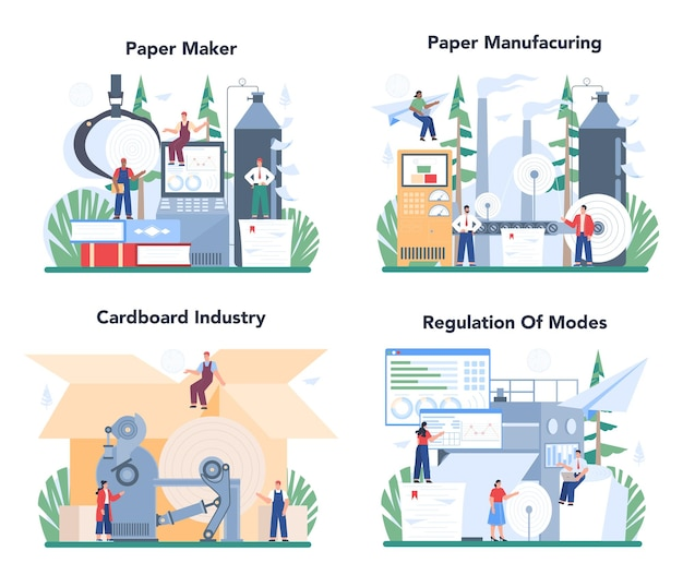Conjunto de ilustração de produção de papel e processamento de madeira