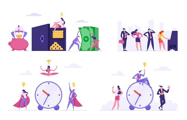 Conjunto de ilustração de produtividade de trabalho de prazo