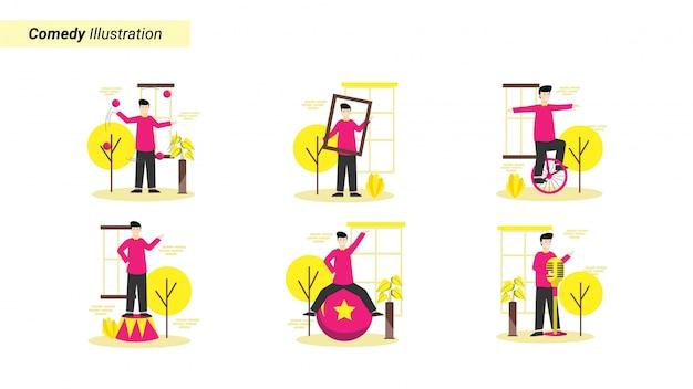 Conjunto de ilustração de programas de comédia que fazem a modelo rir e ser feliz