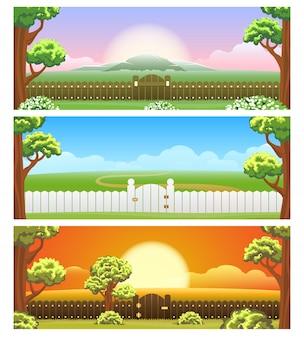 Conjunto de ilustração de quintal dos desenhos animados