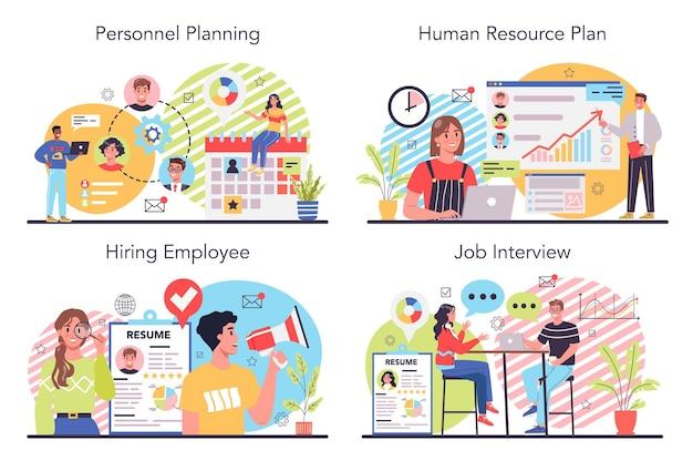 Conjunto de ilustração de recursos humanos