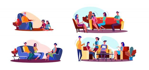 Conjunto de ilustração de reunião amigável