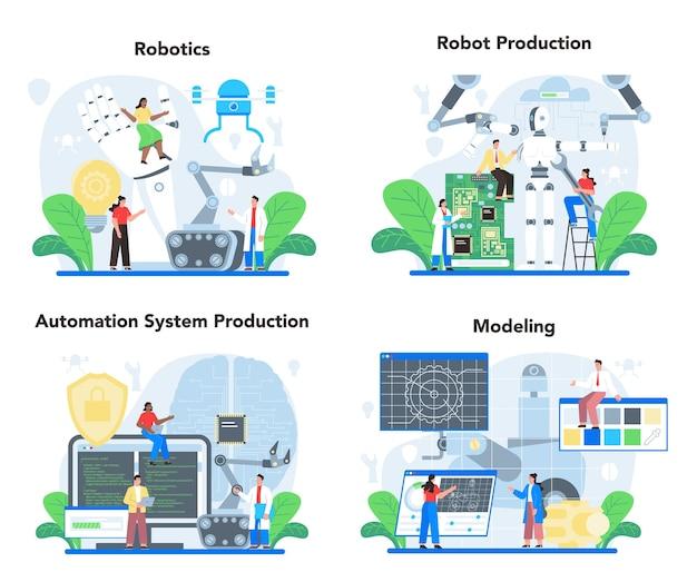 Conjunto de ilustração de roboticista