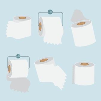 Conjunto de ilustração de rolo de papel para banheiro e toalha de cozinha pode ser usado para fazer pôster