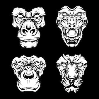 Conjunto de ilustração de rosto de fera em preto e branco