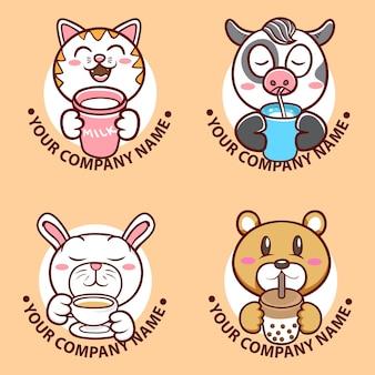 Conjunto de ilustração de rosto de personagem animal fofo