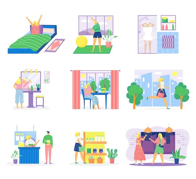 Conjunto de ilustração de rotina de mulher, personagem de desenho animado tomando café da manhã em casa, trabalhando no escritório, relaxando dormindo