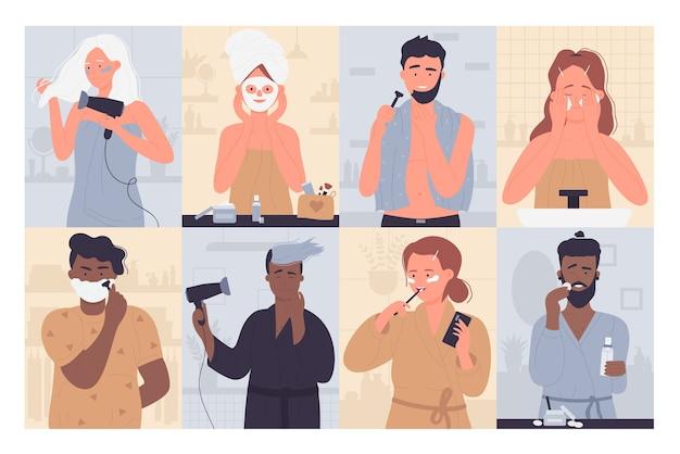 Conjunto de ilustração de rotina matinal de pessoas