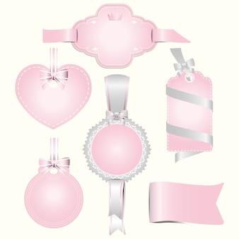 Conjunto de ilustração de rótulo de crachás rosa