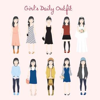 Conjunto de ilustração de roupa diária casual da menina