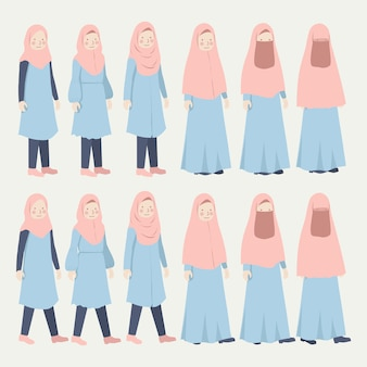 Conjunto de ilustração de roupa diária casual de várias meninas hijab