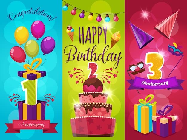 Conjunto de ilustração de saudação de festa de aniversário