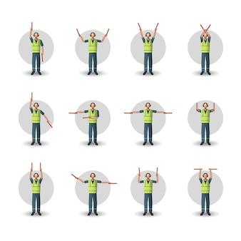 Conjunto de ilustração de sinais manuais de manuseio de aeronaves