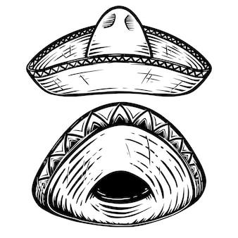 Conjunto de ilustração de sombrero mexicano. elemento de design para cartaz, camiseta, emblema, sinal. ilustração vetorial