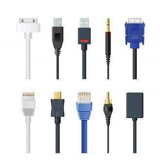 Conjunto de ilustração de soquete, cabo, plugue e fio, computador, áudio, usb, hdmi, rede e outros conectores elétricos isolados no fundo branco.