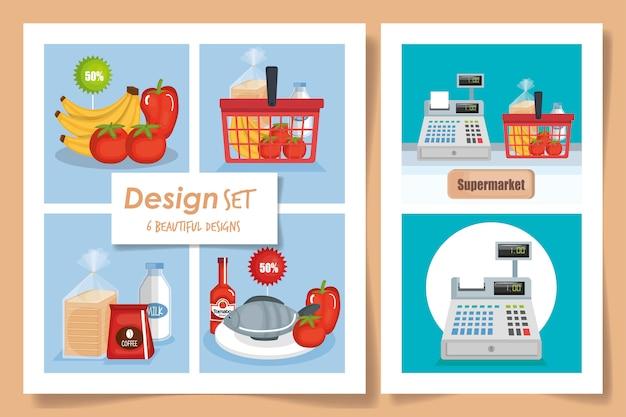 Conjunto de ilustração de supermercado de cenas