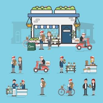 Conjunto de ilustração de supermercado