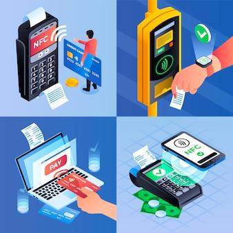 Conjunto de ilustração de tecnologia nfc