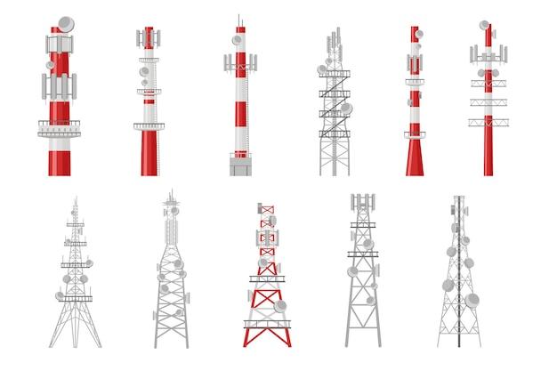Conjunto de ilustração de torres de rádio de desenho animado