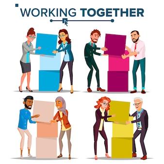 Conjunto de ilustração de trabalho em equipe