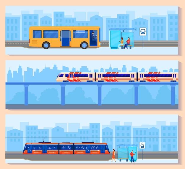 Conjunto de ilustração de transporte urbano.