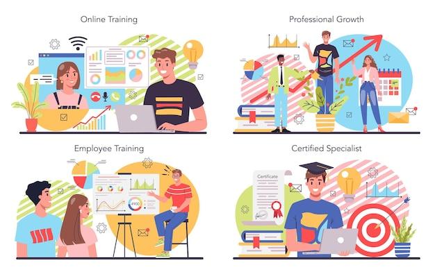 Conjunto de ilustração de treinamento de equipe