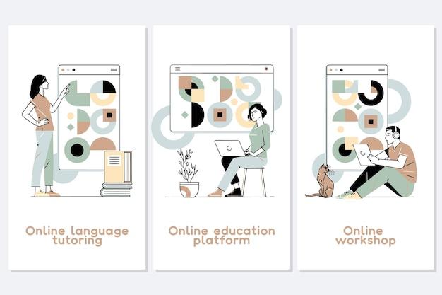 Conjunto de ilustração de treinamento e cursos de educação online