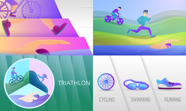 Conjunto de ilustração de triatlo. caricatura, ilustração, de, triathlon
