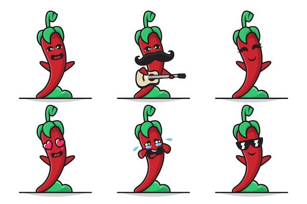 Conjunto de ilustração de um personagem bonito de pimentão com expressões diferentes