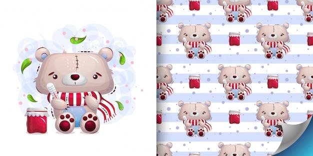 Conjunto de ilustração de ursinho doente e padrão
