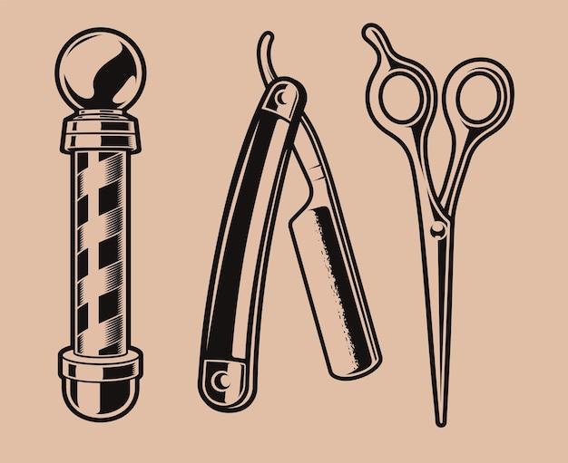 Conjunto de ilustração de vara de barbeiro, tesoura e uma lâmina de barbear.