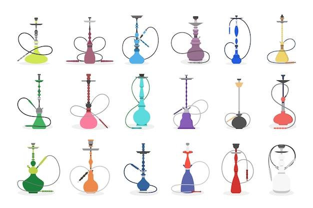 Conjunto de ilustração de vários cachimbo de água. coleção de narguilés coloridos para fumar. bar lounge ou elemento decorativo fumeiro