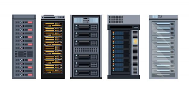 Conjunto de ilustração de vários racks de servidor de desenho animado, diferentes tipos de coleção de rack de servidor de s