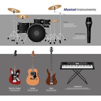 Conjunto de ilustração de vecctor de instrumentos musicais