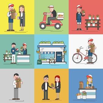 Conjunto de ilustração de vetor de supermercado