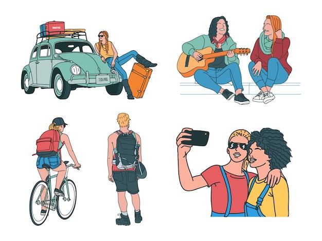 Conjunto de ilustração de viagem desenhada à mão
