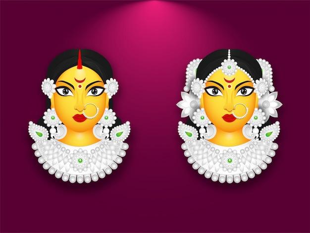 Conjunto de ilustração deusa durga face