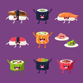 Conjunto de ilustração divertida de sushi e sashimi