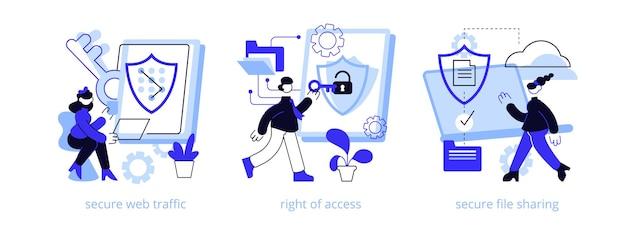 Conjunto de ilustração do conceito abstrato de transferência de dados.
