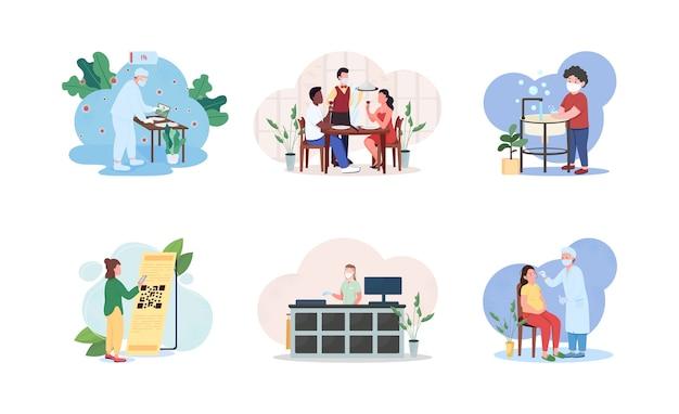 Conjunto de ilustração do conceito de estilo de vida durante a pandemia de pandemia mulher grávida loja trabalhador na máscara código de digitalização personagens de desenhos animados da quarentena