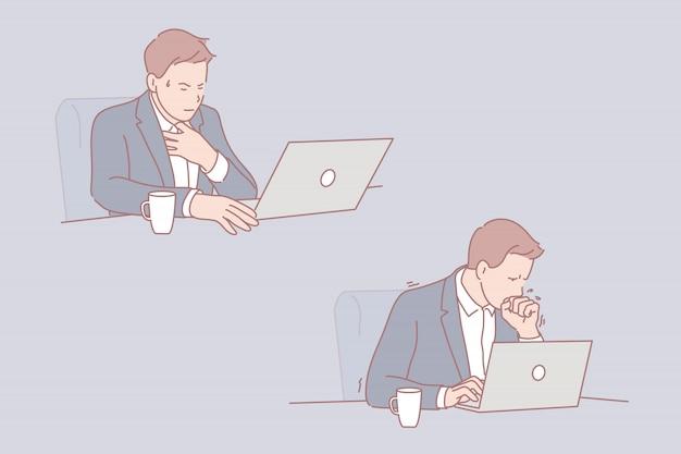 Conjunto de ilustração do empresário doente