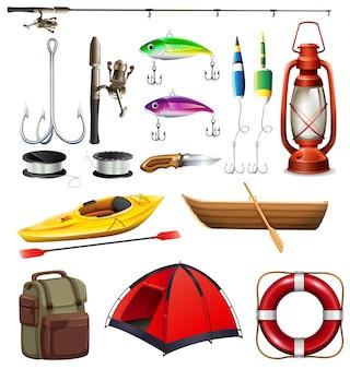 Conjunto de ilustração do equipamento de camping e pesca