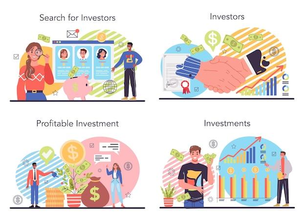 Conjunto de ilustração do investidor