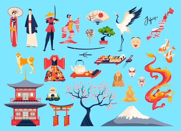 Conjunto de ilustração do japão e do povo japonês, personagem de desenho animado em traje tradicional ou quimono, cereja sakura, marco do templo