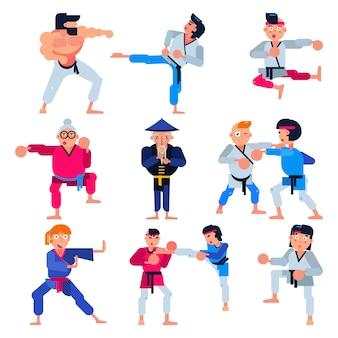 Conjunto de ilustração do karatê karatê-do personagem de treinamento de ataque marcial vector de homem ou mulher e idosos no sportswear praticando esporte judô ou taekwondo isolado