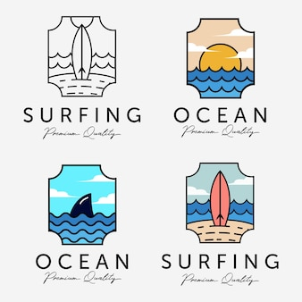 Conjunto de ilustração do logotipo de vetor de férias na praia de marine sunset horizon concept design