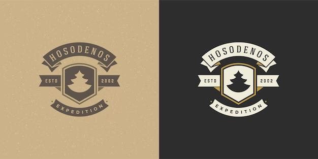 Conjunto de ilustração do logotipo do acampamento da floresta aventura ao ar livre e lazer