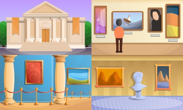 Conjunto de ilustração do museu, estilo cartoon