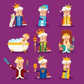 Conjunto de ilustração do rei dos desenhos animados